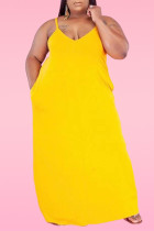 Yellow Sexy Casual Plus Size Solid Backless Spaghetti Strap Sleeveless Dress