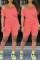 Orange Fashion Short Sleeve T-shirt Shorts Casual Set