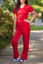 Red Fashion Casual Solid Basic V Neck Short Sleeve Two Pieces