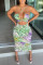 Light Green Fashion Sexy Print Hollowed Out Backless Spaghetti Strap Sleeveless Dress