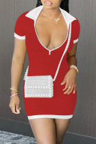 Red Sexy Casual Solid Split Joint Zipper Collar Short Sleeve Dress