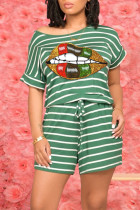 Green Casual Striped Print O Neck Short Sleeve Two Pieces