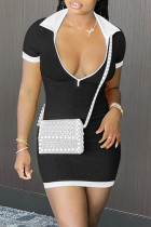 Black Sexy Casual Solid Split Joint Zipper Collar Short Sleeve Dress