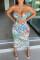 Light Blue Fashion Sexy Print Hollowed Out Backless Spaghetti Strap Sleeveless Dress
