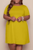 Gold Fashion Casual Plus Size Solid Basic O Neck Short Sleeve Dress