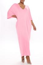 Pink Fashion Casual Solid Basic V Neck Long Dress