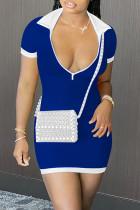 Blue Sexy Casual Solid Split Joint Zipper Collar Short Sleeve Dress