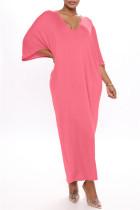 Rose Red Fashion Casual Solid Basic V Neck Long Dress