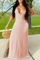 Pink Sexy Casual Solid Slit V Neck Vest Dress