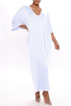 White Fashion Casual Solid Basic V Neck Long Dress