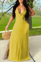 Yellow Sexy Casual Solid Slit V Neck Vest Dress