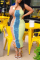 Yellow And Blue Sexy Print Split Joint Spaghetti Strap Pencil Skirt Dresses