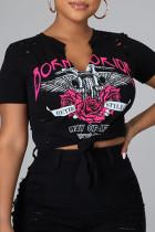 Black Fashion Casual Print Ripped V Neck T-Shirts