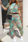 Green Casual Print Split Joint O Neck Short Sleeve Two Pieces