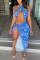 Blue Sexy Print Hollowed Out Backless Slit Halter Sleeveless Dress