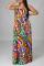 Multicolor Sexy Print Backless Halter Cake Skirt Dresses