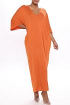 Orange Fashion Casual Solid Basic V Neck Long Dress