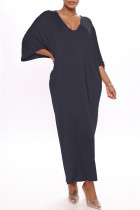 Black Fashion Casual Solid Basic V Neck Long Dress