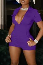 Purple Casual Solid Split Joint Pocket Zipper Turndown Collar Skinny Jumpsuits