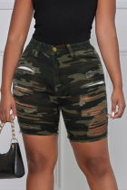 Camouflage Casual Camouflage Print Ripped Plus Size