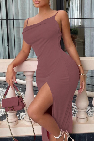 Red Sexy Solid High Opening Spaghetti Strap Pencil Skirt Dresses