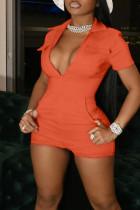 Tangerine Red Casual Solid Split Joint Pocket Zipper Turndown Collar Skinny Jumpsuits