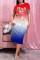 Blue Fashion Casual Gradual Change Letter Print Basic O Neck Short Sleeve Dress