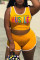 Yellow Fashion Casual Letter Print Vests U Neck Sleeveless Two Pieces