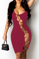 Burgundy Sexy Solid Hollowed Out Chains U Neck Sleeveless Dress