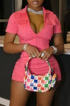 Pink Casual Solid Split Joint Pocket Zipper Turndown Collar Skinny Jumpsuits