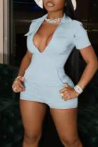 Baby Blue Casual Solid Split Joint Pocket Zipper Turndown Collar Skinny Jumpsuits