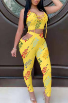 Yellow Casual Print Hollowed Out Split Joint Frenulum O Neck Sleeveless Two Pieces