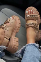 Beige Casual Street Hollowed Out Split Joint Chains Opend Out Door Shoes