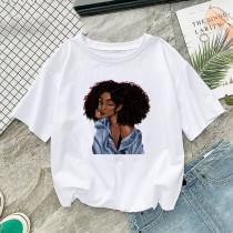 White Fashion Printed Short Sleeve T-Shirt