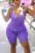Purple Fashion Sexy Print Backless Spaghetti Strap Plus Size Jumpsuits