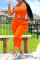 Tangerine Red Sexy Solid Split Joint O Neck Sleeveless Two Pieces