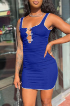 Blue Casual Solid Hollowed Out Split Joint Square Collar Pencil Skirt Dresses