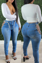 Baby Blue Fashion Solid Bandage Hollowed Out High Waist Skinny Denim Jeans