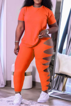Orange Fashion Casual Solid Hollowed Out O Neck Short Sleeve Two Pieces