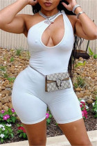 White Sexy Casual Solid Hollowed Out One Shoulder Skinny Romper