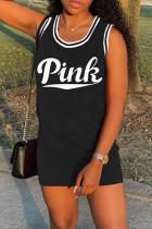 Black Fashion Letter Print Basic O Neck Vest Dress