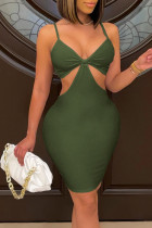 Army Green Sexy Solid Bandage Split Joint Spaghetti Strap Pencil Skirt Dresses