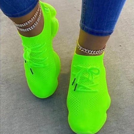 Fluorescent Green Casual Sportswear Bandage Round Sport Shoes