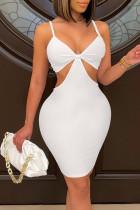 White Sexy Solid Bandage Split Joint Spaghetti Strap Pencil Skirt Dresses