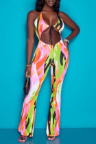 Colour Fashion Sexy Print Hollowed Out Backless Halter Regular Jumpsuits