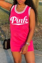 Pink Fashion Letter Print Basic O Neck Vest Dress