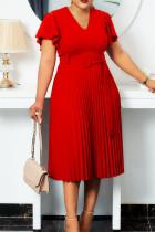 Red Elegant Solid Split Joint V Neck Pleated Plus Size Dresses