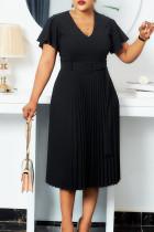 Black Elegant Solid Split Joint V Neck Pleated Plus Size Dresses