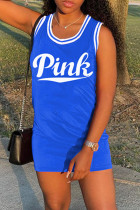 Blue Fashion Letter Print Basic O Neck Vest Dress
