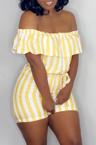 Yellow Fashion Casual Striped Print Backless Off the Shoulder Regular Romper
